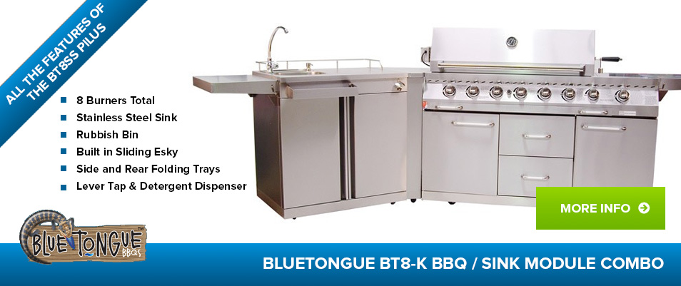 BlueTongue BT8-K - 8 Burner BBQ / Sink Combo
