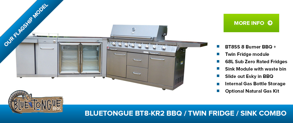 BlueTongue BT8-KR2 8 Burner BBQ / Twin Fridge/Sink Combo
