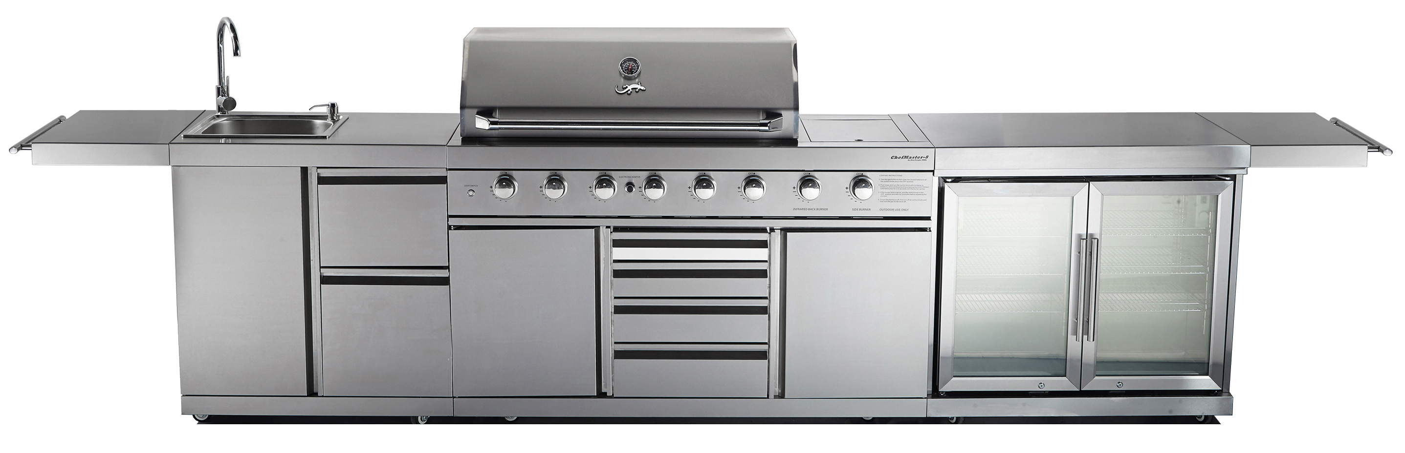 Outdoor kitchen chefmaster galley series bbq twin for Outdoor kitchen with sink and fridge