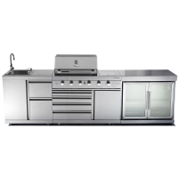 GALLEY SERIES - MODEL CG-KRX6 - FOUR BURNER BBQ / /TWIN FRIDGE/ SINK COMBO - $5695.00