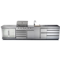 GALLEY SERIES - CG-KSRX6 FOUR BURNER BBQ / TWIN FRIDGE / SINK / DRAWER COMBO - $6695.00