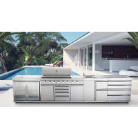 GALLEY SERIES  CG-KSRX8 - SIX BURNER/TWIN FRIDGE/SINK/DRAWER COMBO - $6995.00